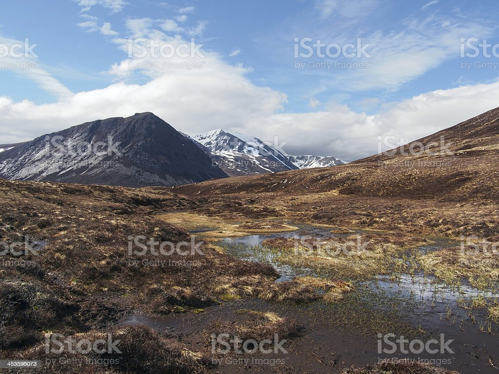Cairngorms mountains, south of Carn a Mhaim, Scotland in spring stock photo