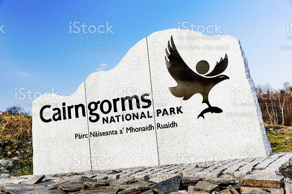 Cairngorms National Park sign, Scotland stock photo