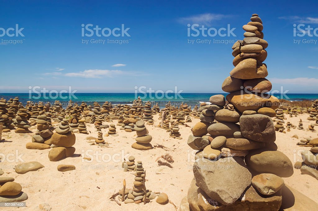 Cairns (rock stacks) along the Great Ocean Road stock photo