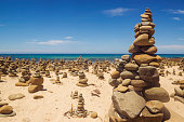 Cairns (rock stacks) along the Great Ocean Road