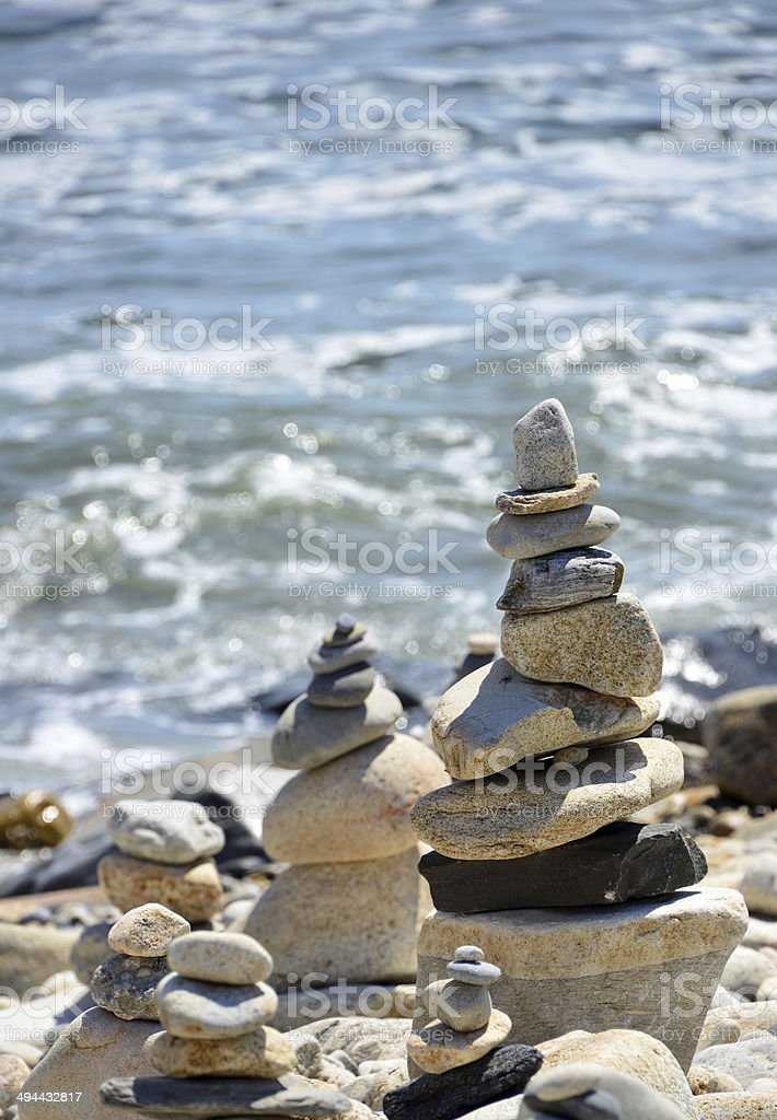 Cairns by the sea stock photo