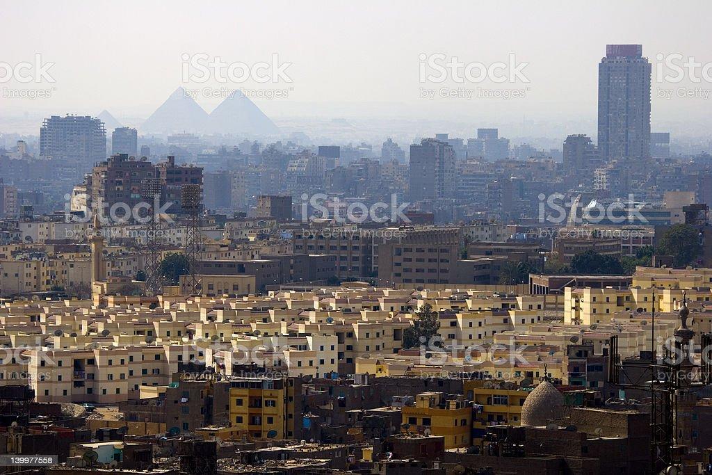 Cairo city skyline and Pyramids stock photo