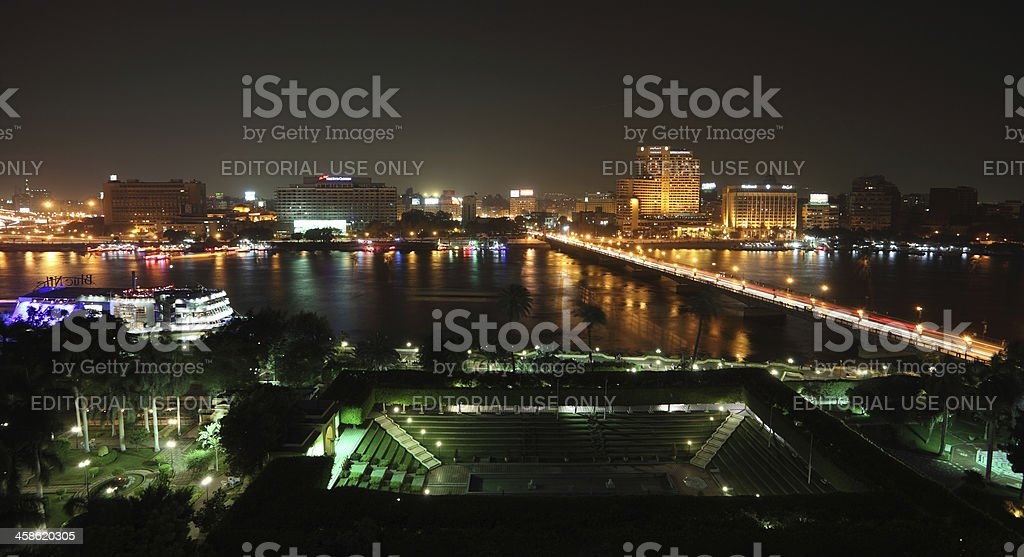 Cairo downtown by night stock photo