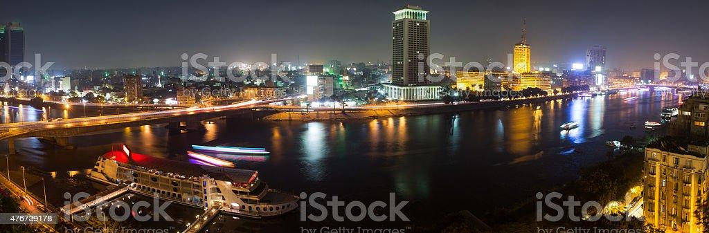 Cairo night panoramic stock photo