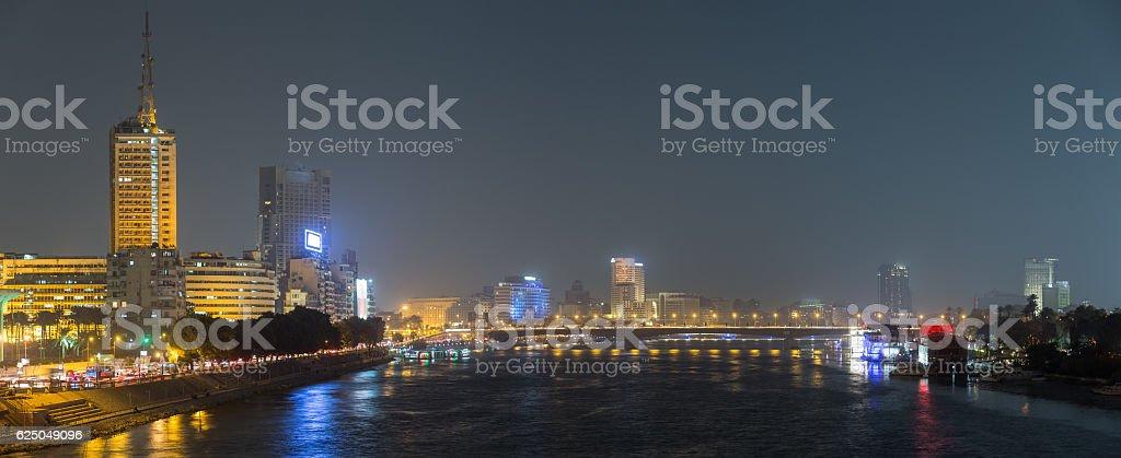 Cairo night panormic stock photo