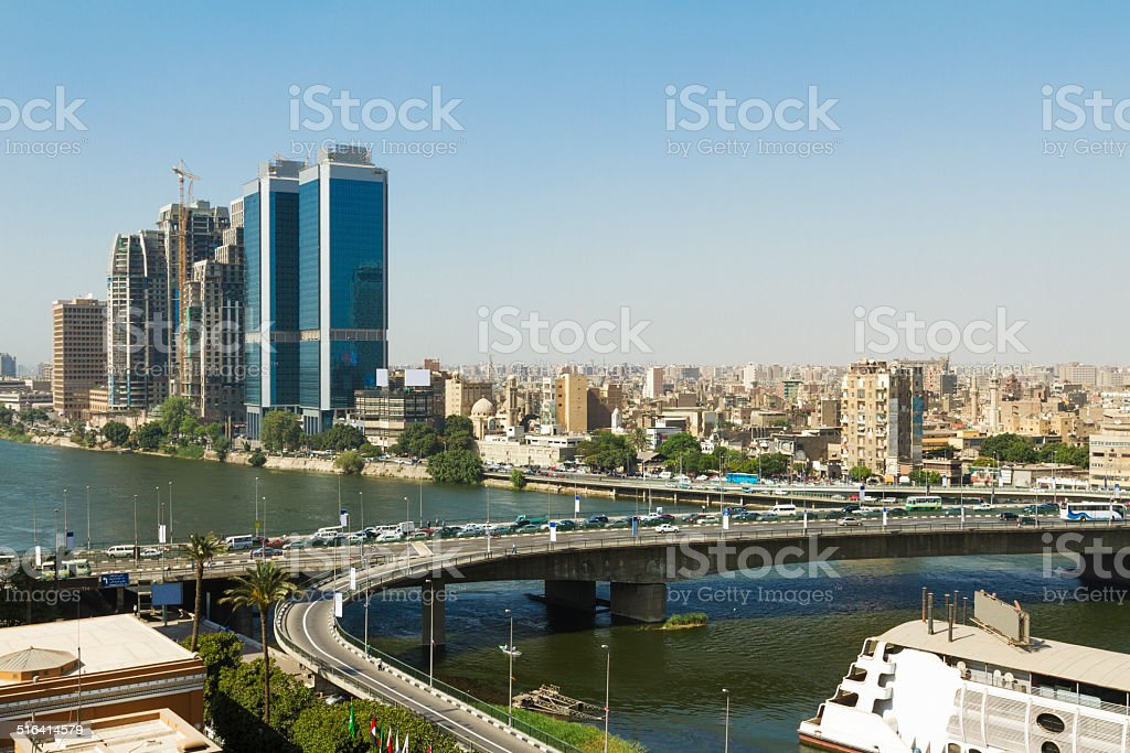 Cairo skyline along Nile River stock photo
