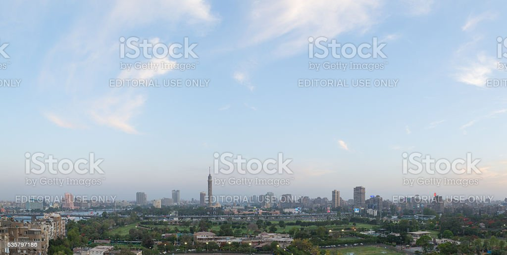 Cairo skyline at dusk stock photo
