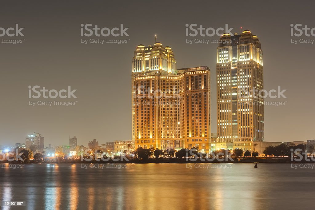 Cairo Skyline - Fairmont Nile City Towers stock photo