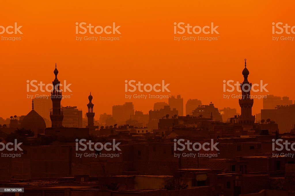 Cairo sunset with towers stock photo