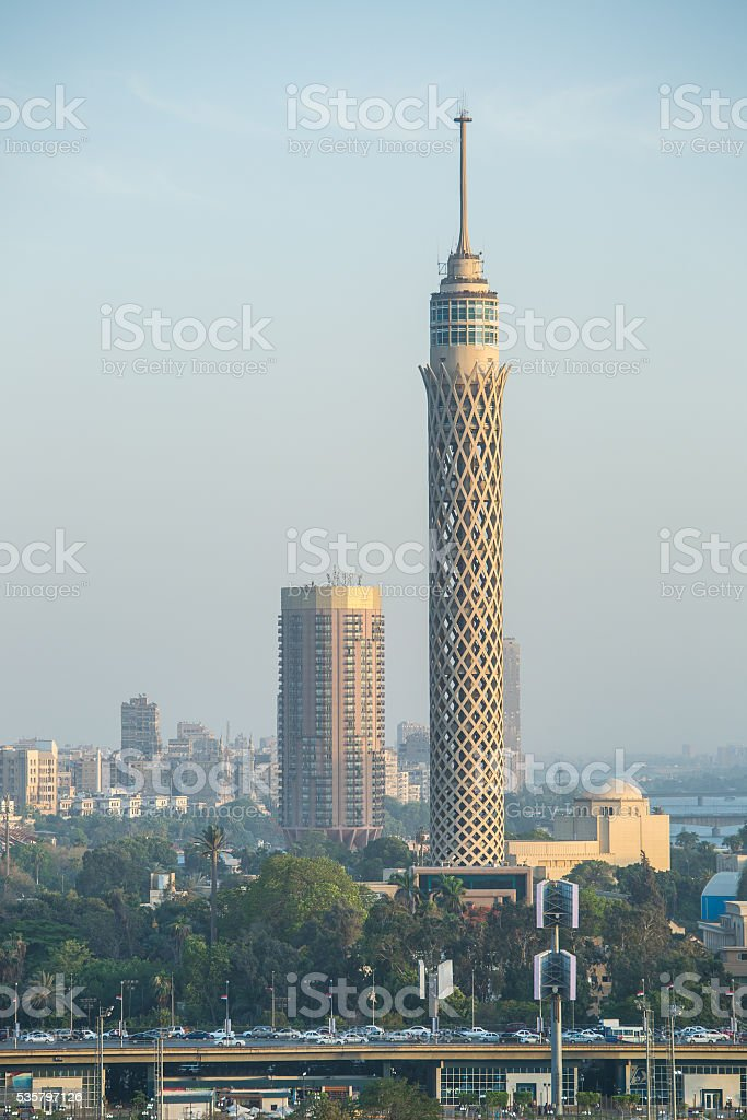 Cairo tower at dusk stock photo