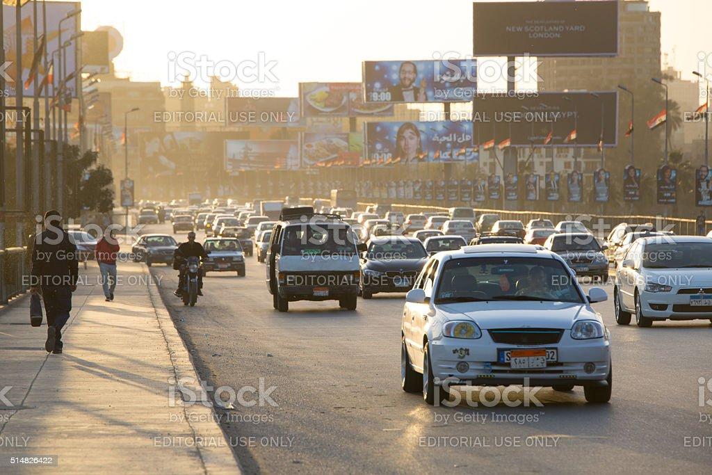 Cairo traffic at dusk stock photo