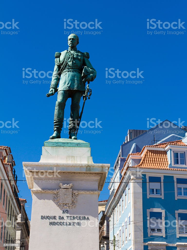 Cais do Sodre view in Lisbon, Portugal stock photo