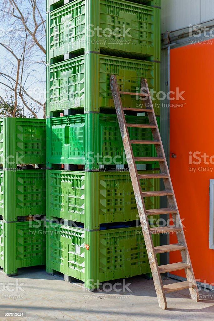 Caisse en plastique verte. stock photo