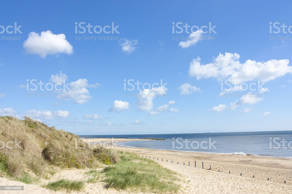 Caister on sea beach and sand dunes royalty-free stock photo