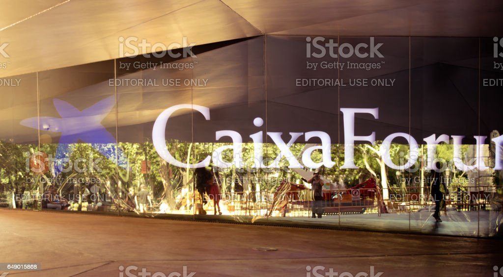 MADRID, SPAIN - AUGUST 17, 2014: CaixaForum Madrid — the public cultural center, worthy the 21st century which contains the classical and modern art. stock photo