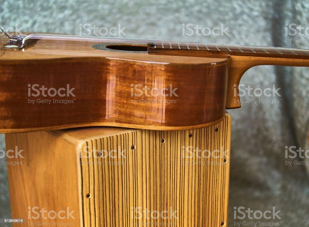 Cajon and guitar stock photo