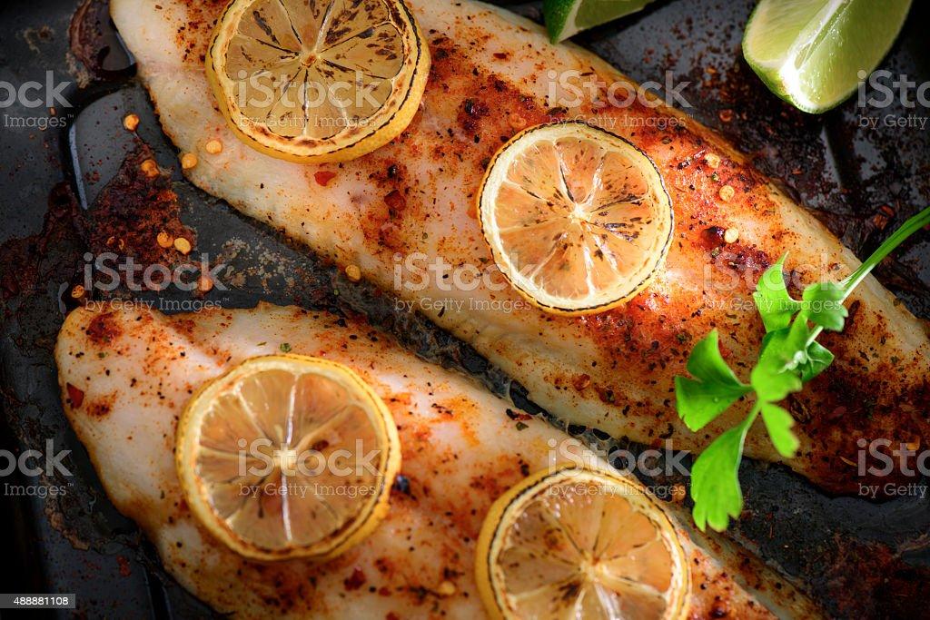 Cajun Baked Fish stock photo