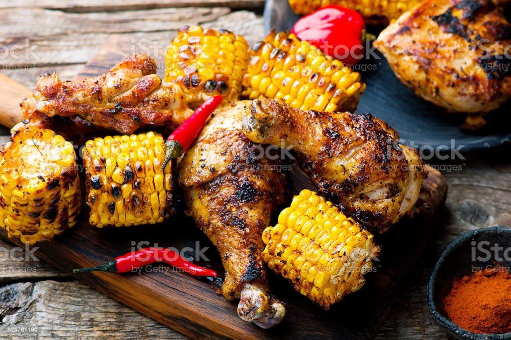 Cajun Chicken and Corn. stock photo