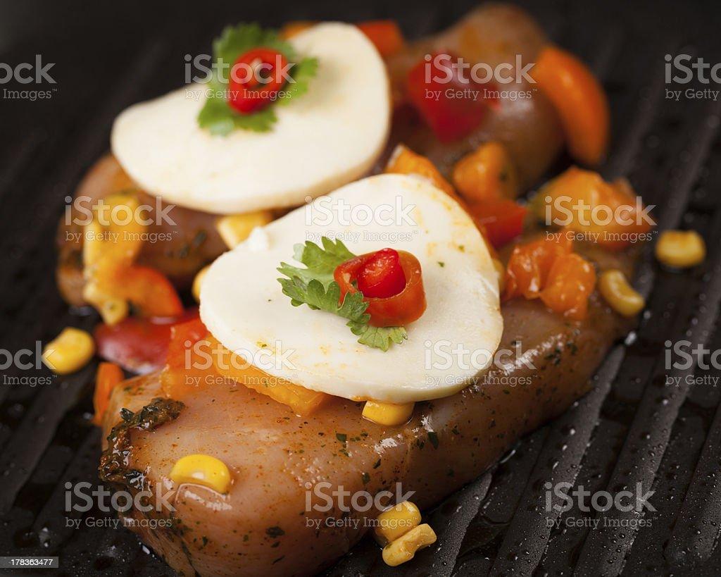 Cajun Chicken with Salsa and Mozzarella royalty-free stock photo