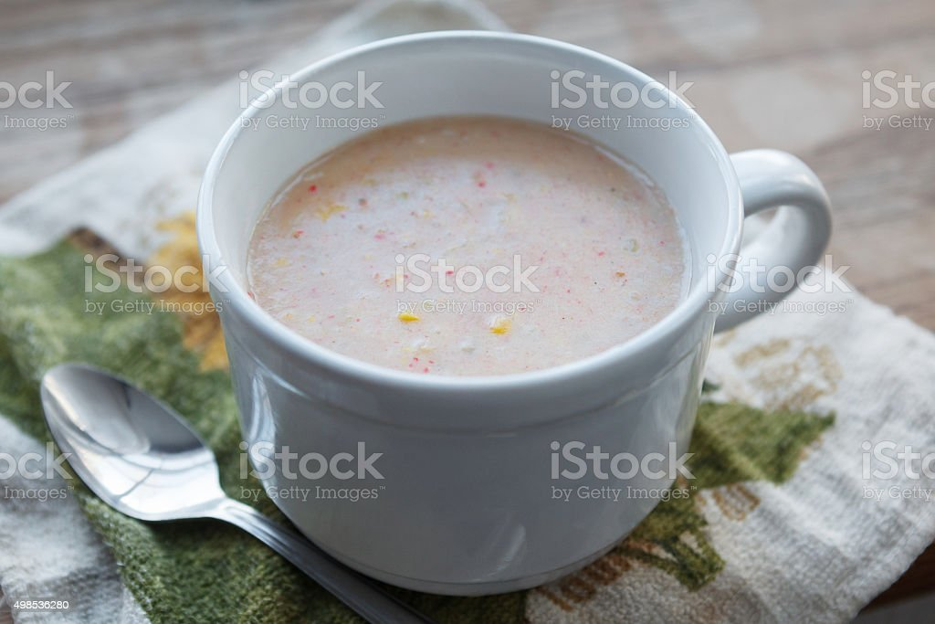 Cajun Crab and Corn Bisque stock photo