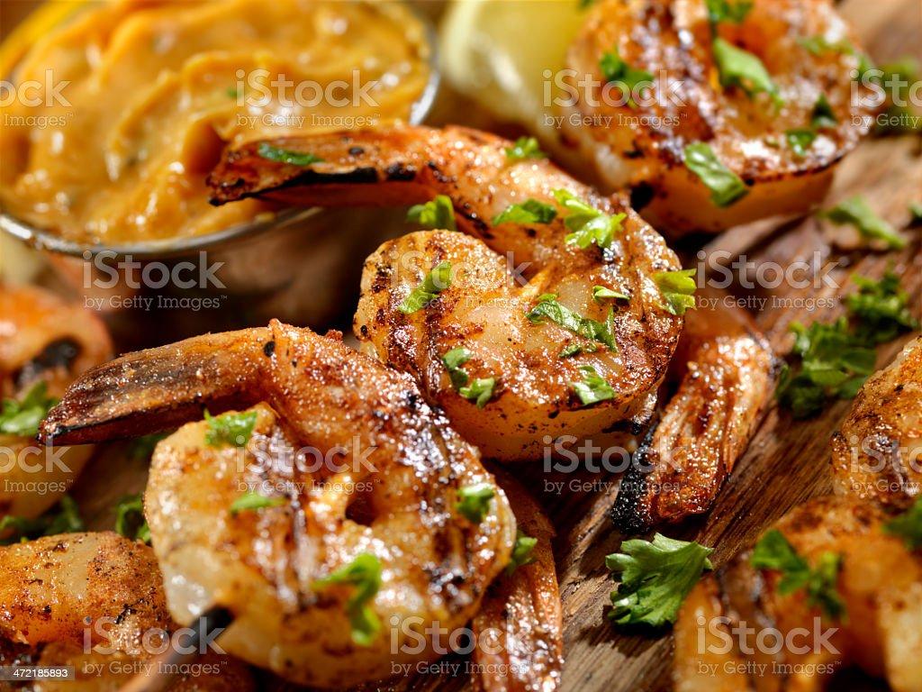 Cajun Grilled Shrimp stock photo