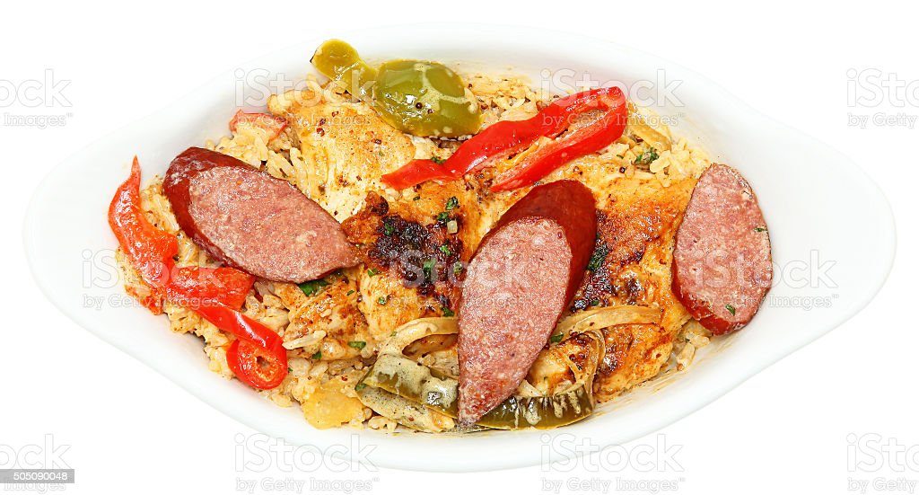Cajun Jambalaya Voodoo Chicken and Sausage in Bowl stock photo
