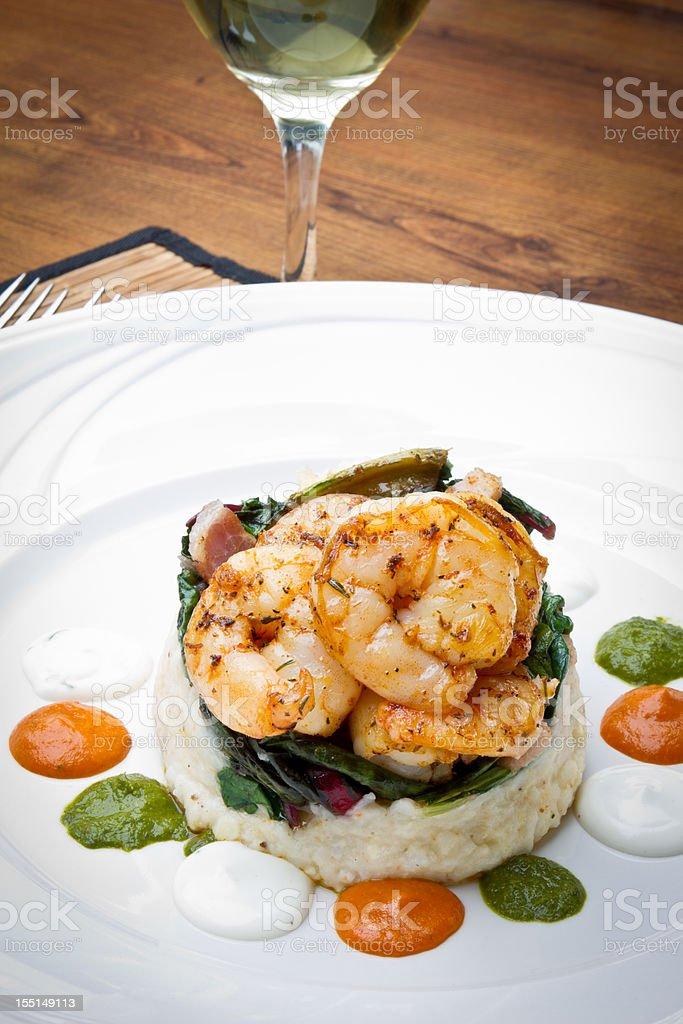 Cajun Jumbo Shrimp and Grits stock photo