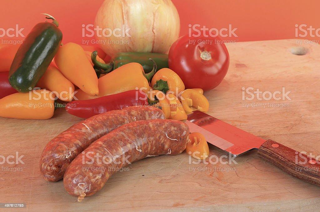 Cajun Pork Sausage stock photo