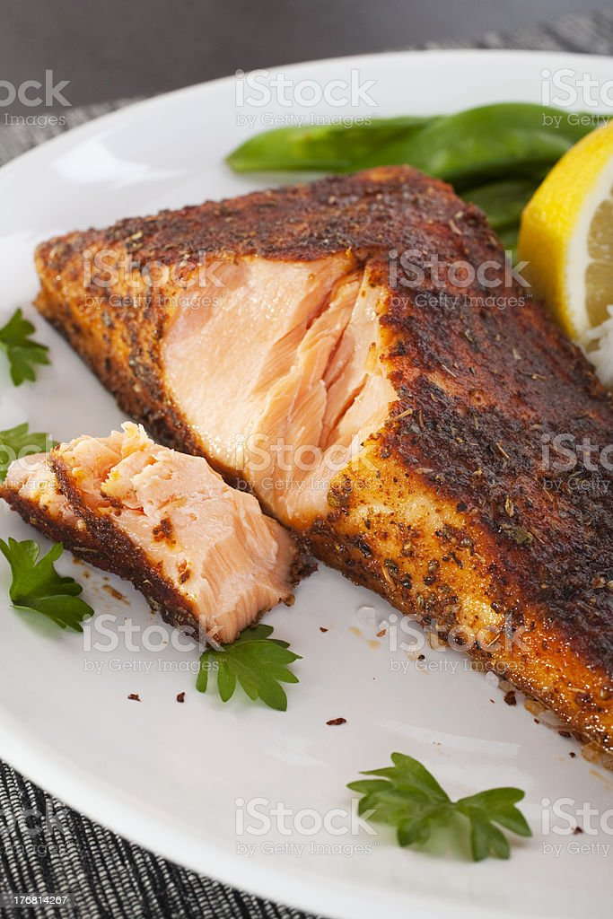 Cajun Salmon Plate Plated Blackened Redfish stock photo