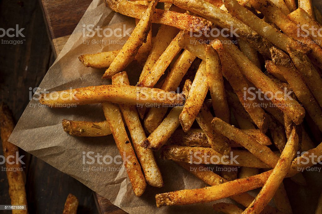 Cajun Seasoned French Fries stock photo