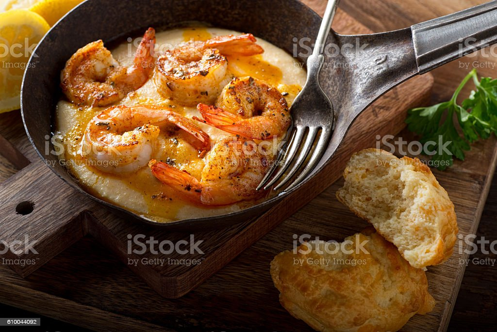 Cajun Style Shrimp and Grits stock photo