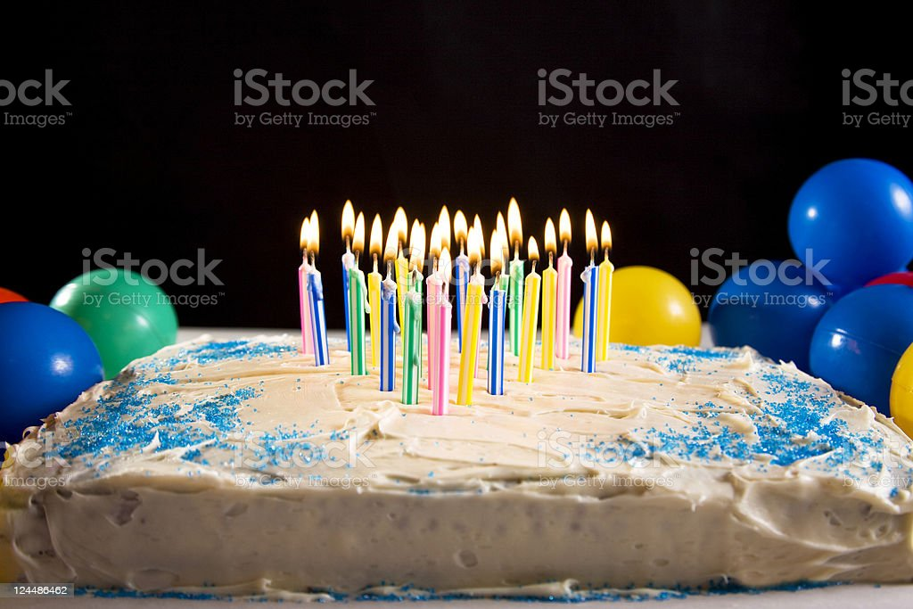 Cake and candles stock photo