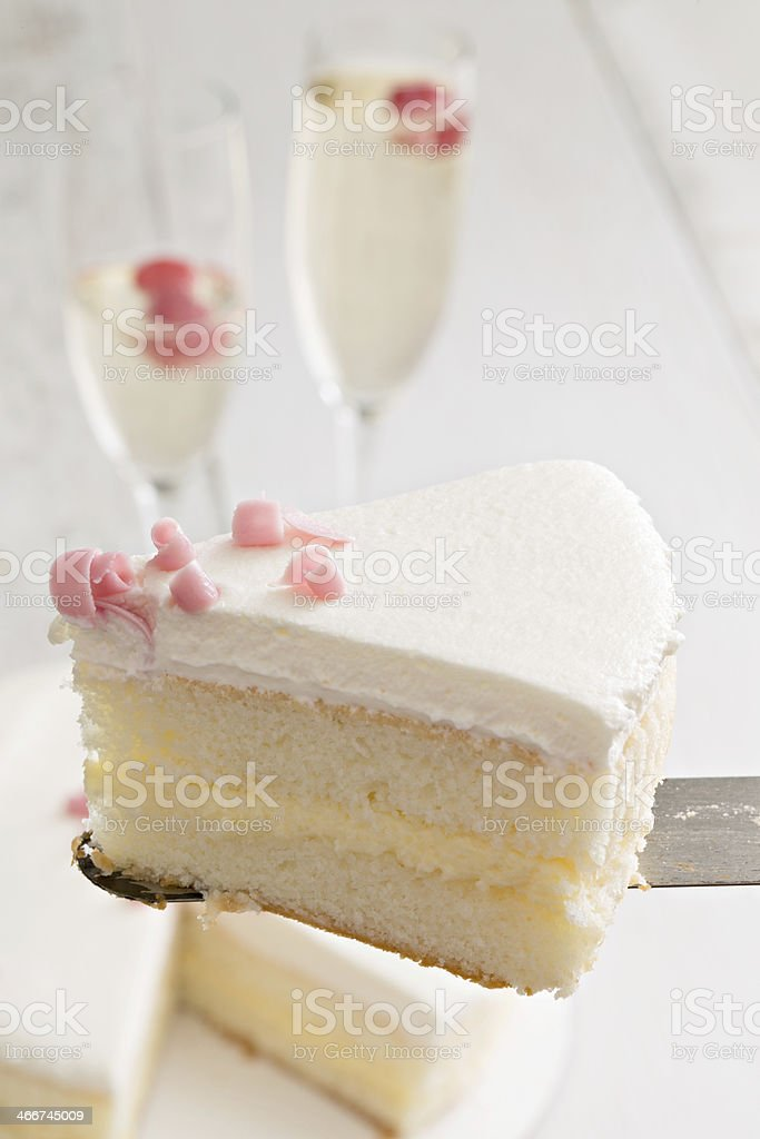 Cake And Champagne For Two. stock photo