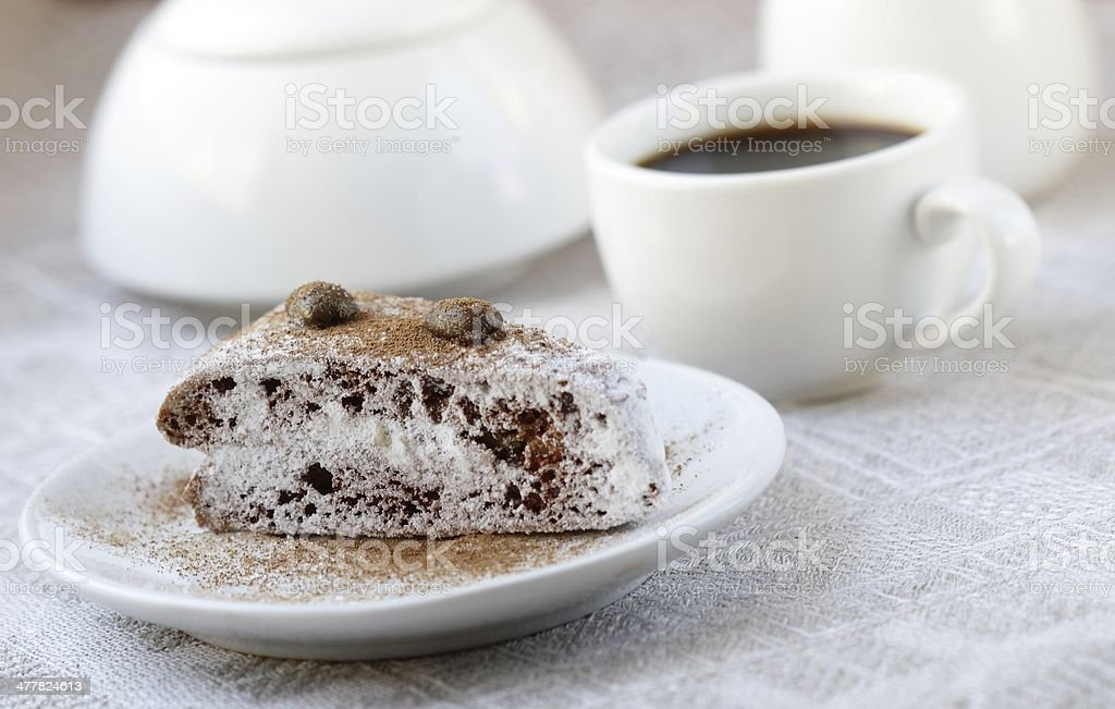Cake and cup of coffee royalty-free stock photo