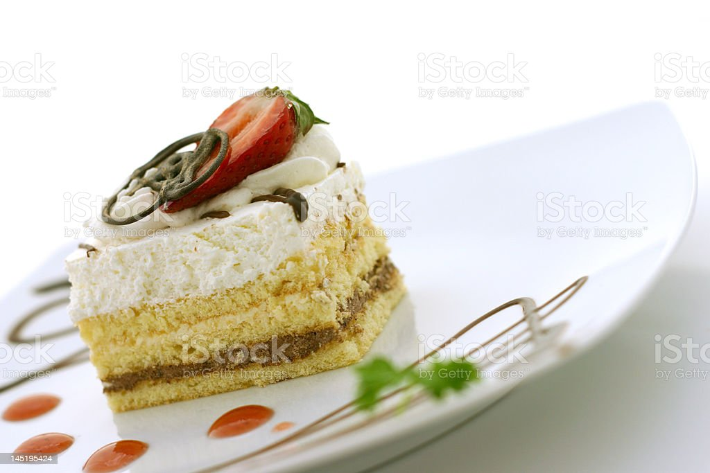 Cake and Strawberry royalty-free stock photo