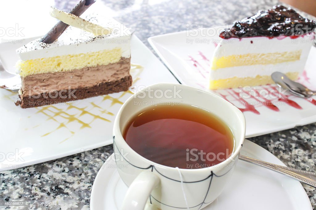 Cake and tea royalty-free stock photo