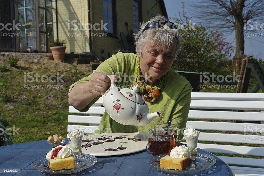 Cake and tea royalty-free stock photo
