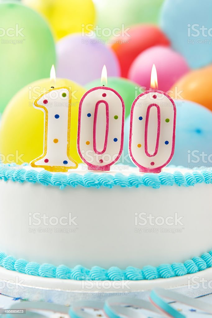 Cake Celebrating 100th Birthday stock photo