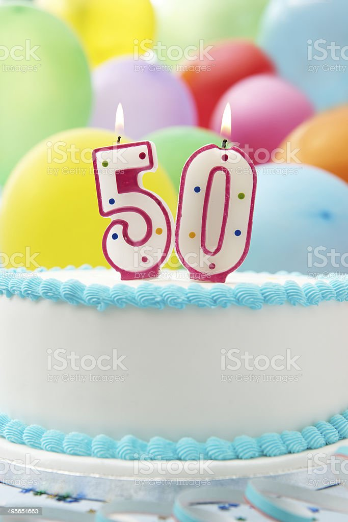 Cake Celebrating 50th Birthday stock photo