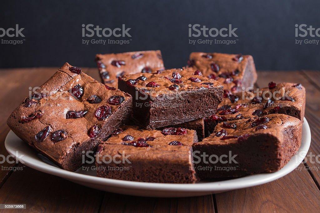 Cake chocolate brownies on dark wooden background stock photo