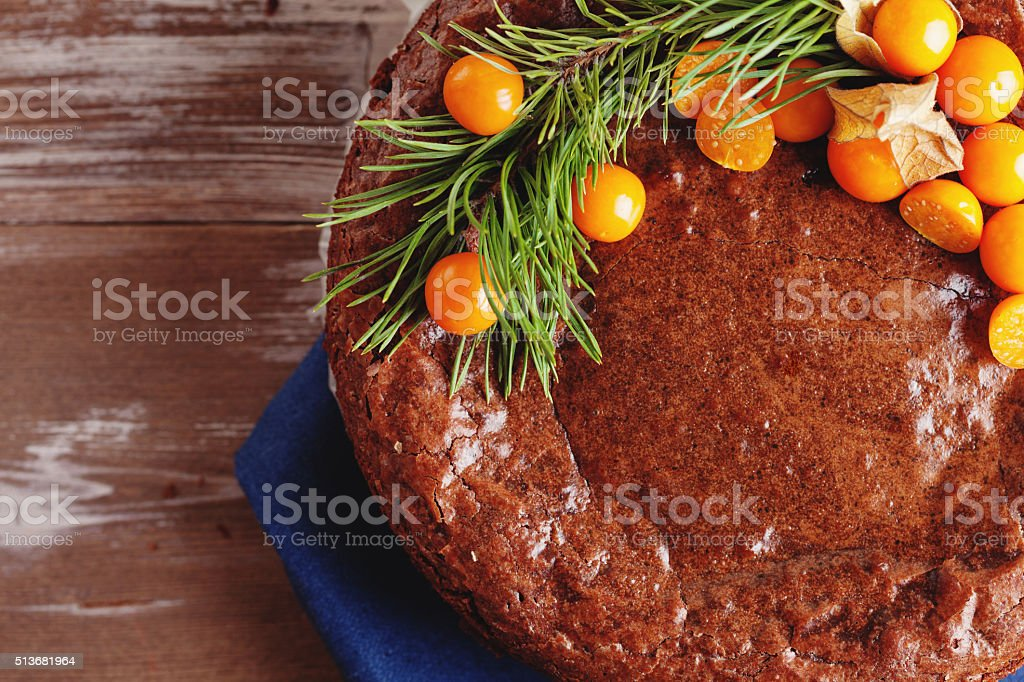 Cake chocolate brownies on wooden background stock photo