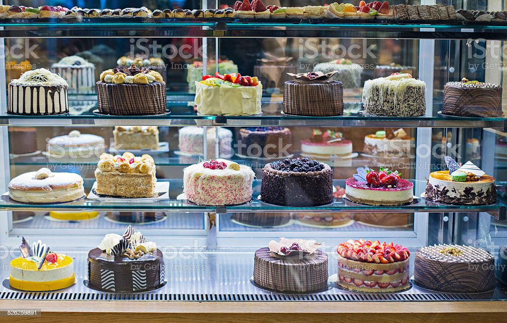 Cake display stock photo