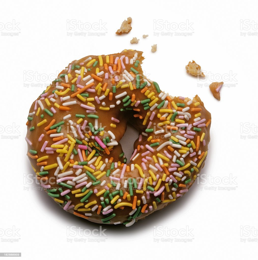 Cake donut with rainbow sprinkles isolated on white background stock photo