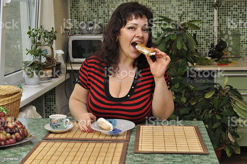 Cake eater stock photo