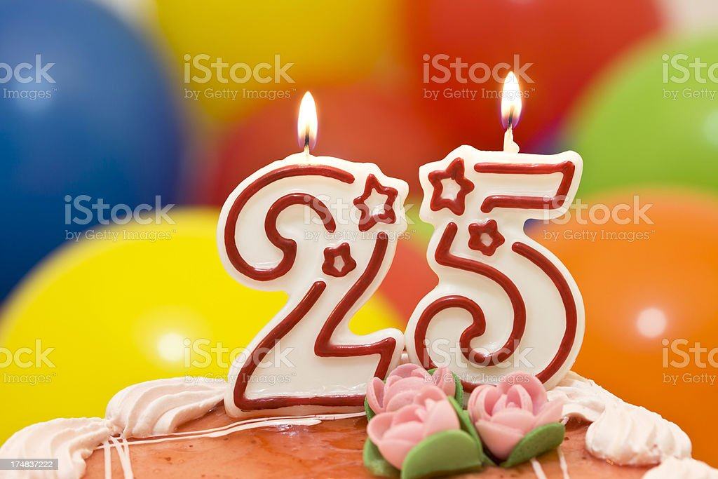 Cake for 25st  birthday. stock photo