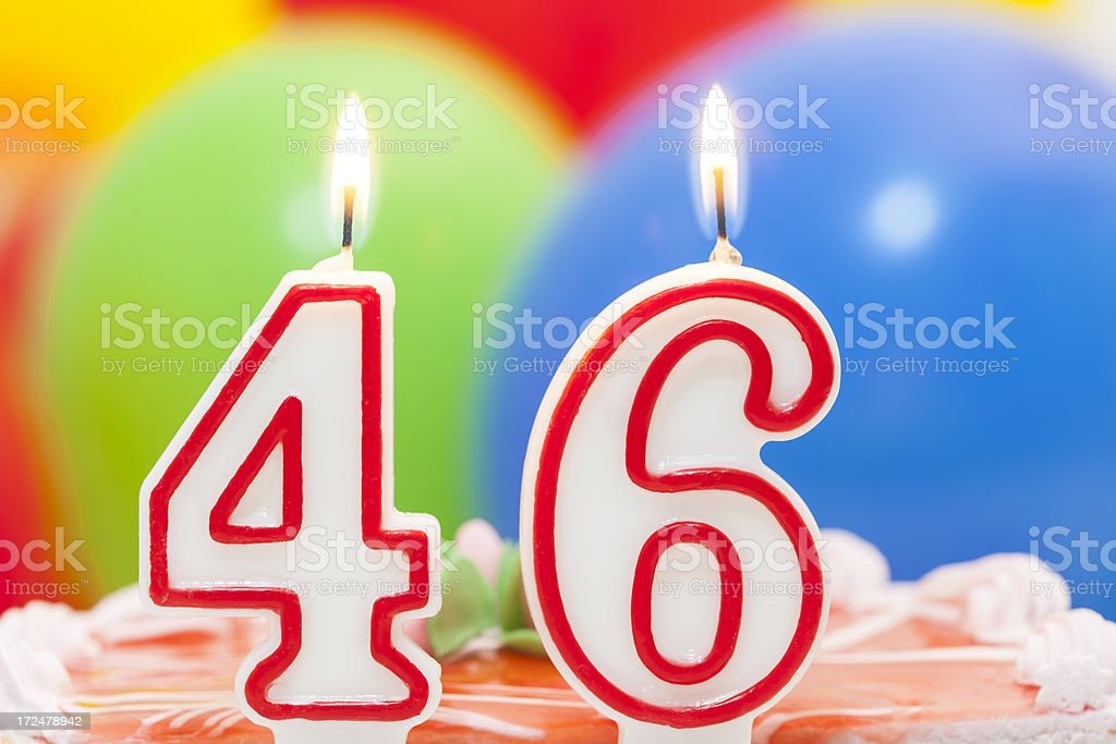 Cake for 46th birthday royalty-free stock photo
