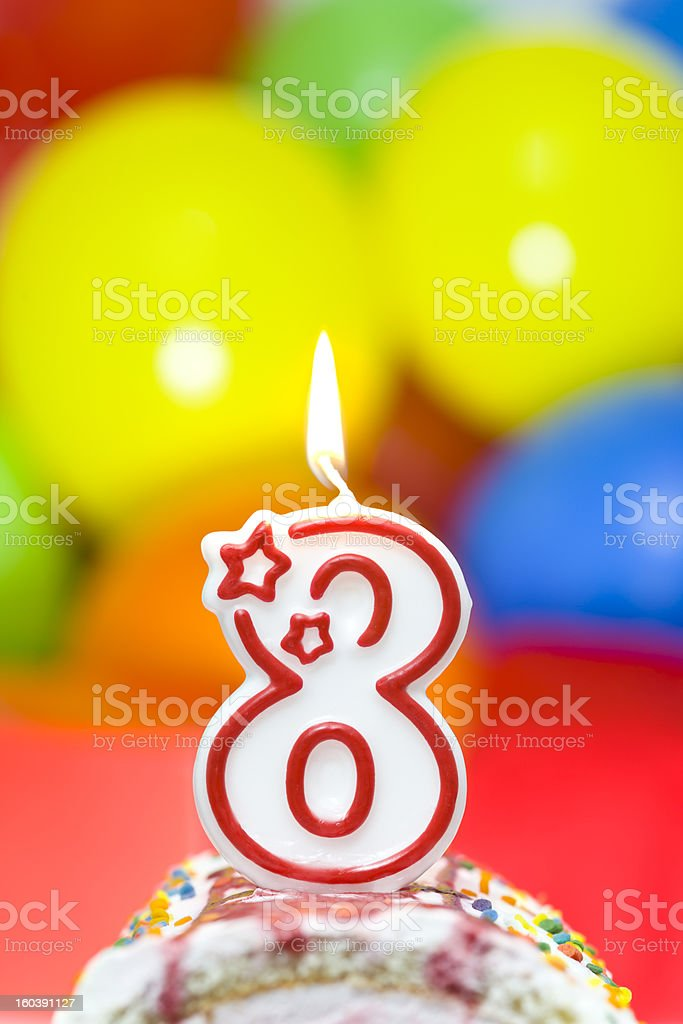Cake for eighth birthday royalty-free stock photo