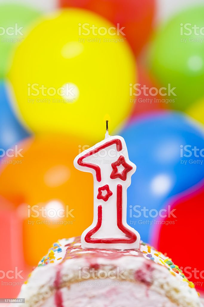 Cake for first birthday stock photo