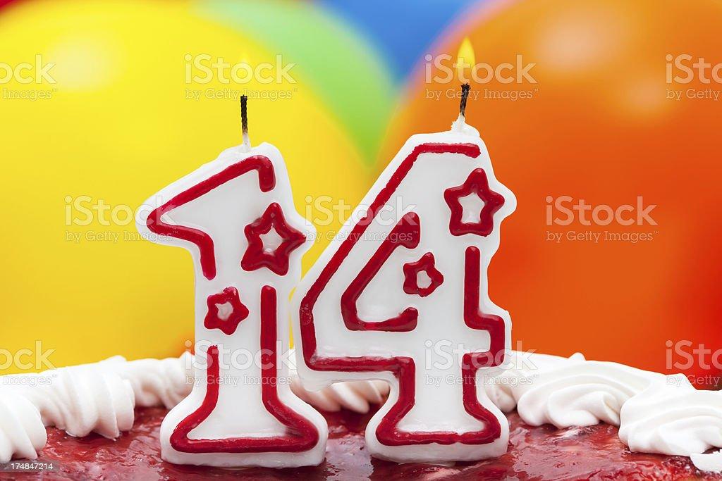 Cake for fourteenth birthday royalty-free stock photo