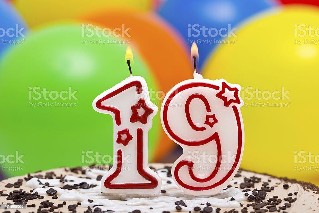 Cake for nineteenth birthday stock photo